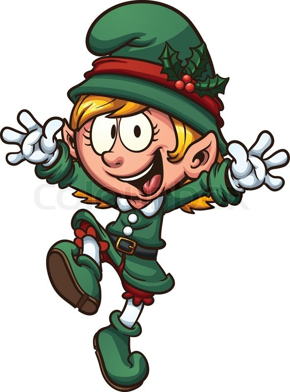 happy christmas elf vector clip art illustration with simple