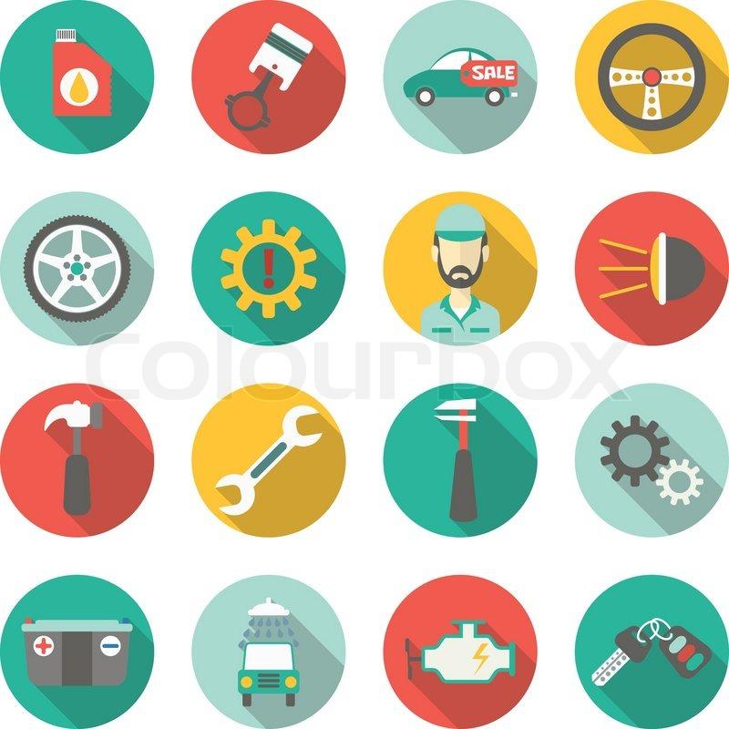car service flat icons vector stock vector colourbox