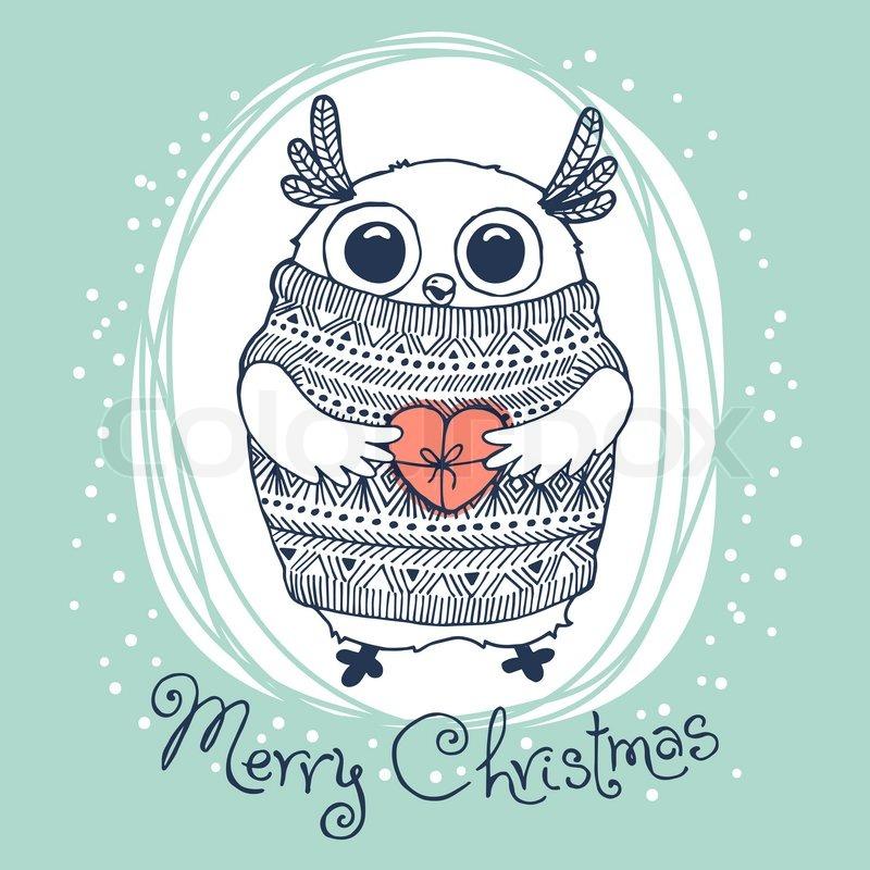 hand drawn vector illustration with cute eagle owl merry christmas card stock vector colourbox - Owl Christmas