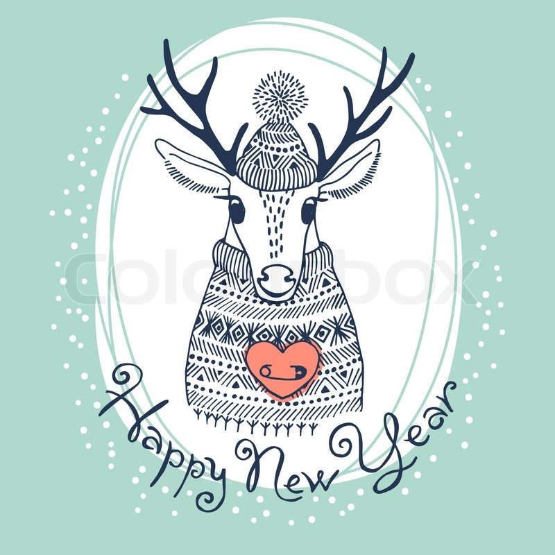 hand drawn vector illustration with cute deer happy new year card stock vector colourbox