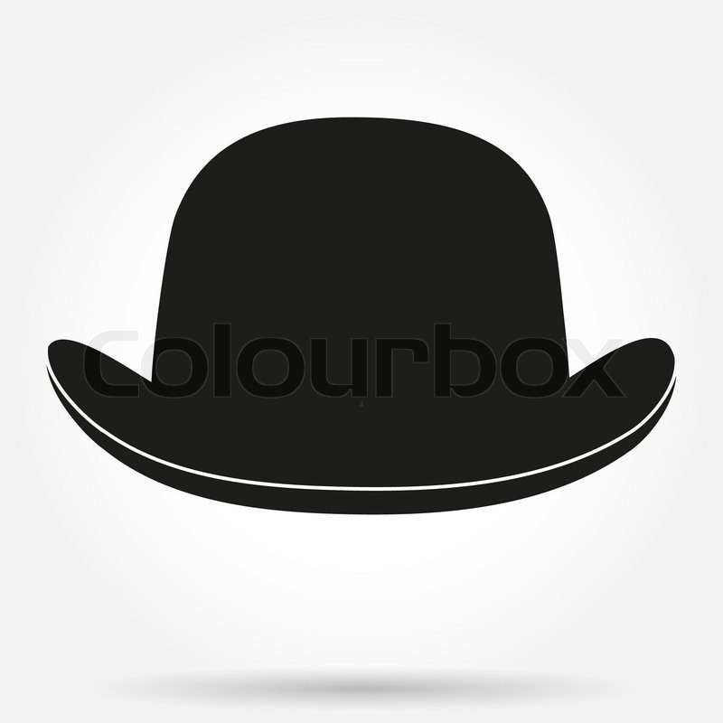 Silhouette symbol of bowler hat with ...   Stock Vector ...