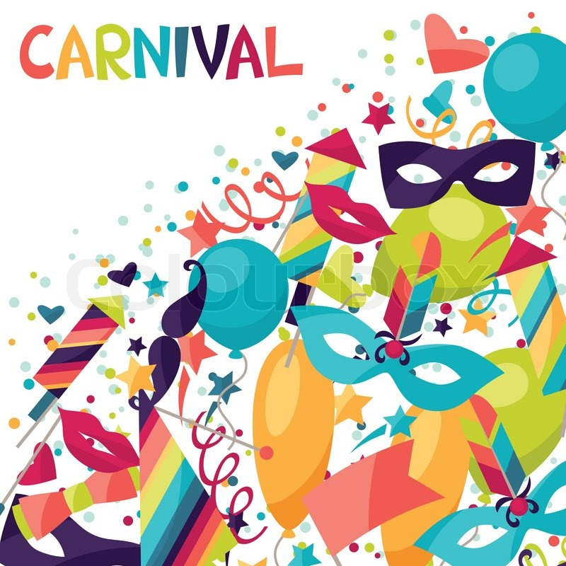 celebration background with carnival stickers and objects stock