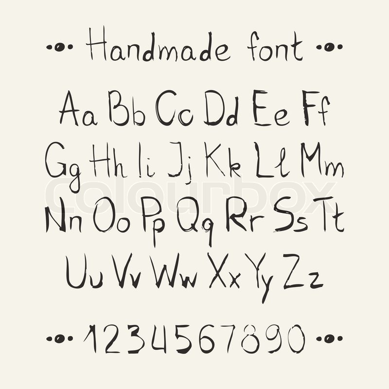 Simple Monochrome Hand Drawn Font Complete Abc Alphabet Set Vector Letters And Numbers Doodle Typographic Symbols