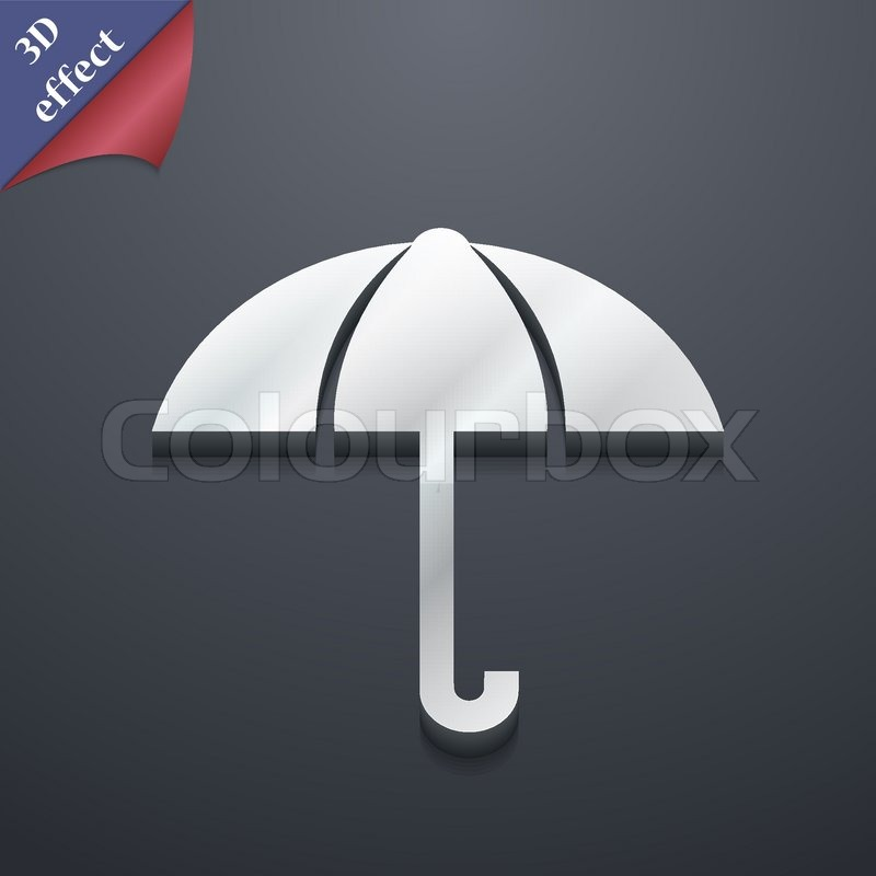 Umbrella Icon Symbol 3d Style Trendy Modern Design With Space For