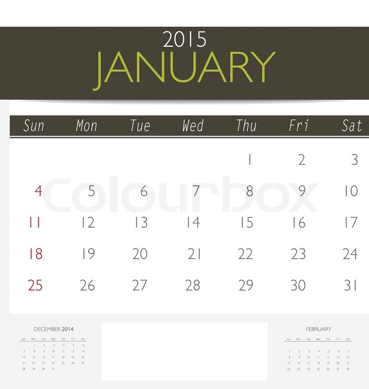 2015 Calendar, Monthly Calendar Template For January. Vector