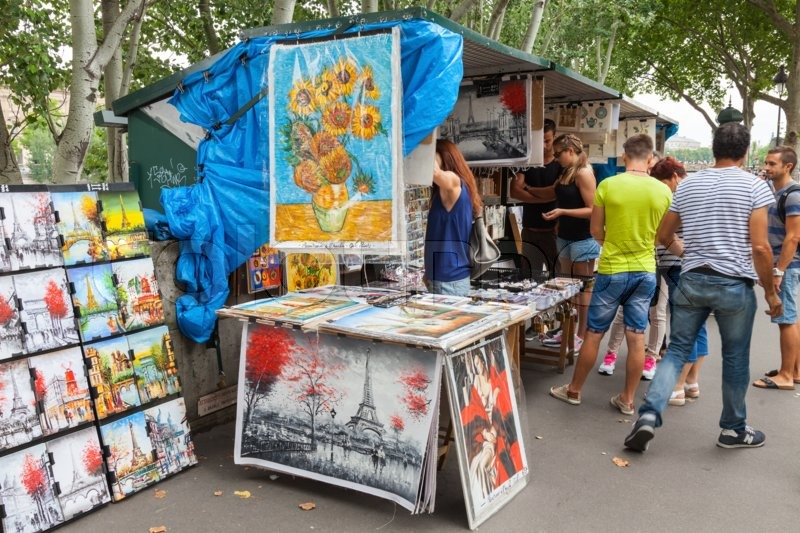 paris france august 07 2014 small art and souvenir shop with buyers and seller on the seine. Black Bedroom Furniture Sets. Home Design Ideas