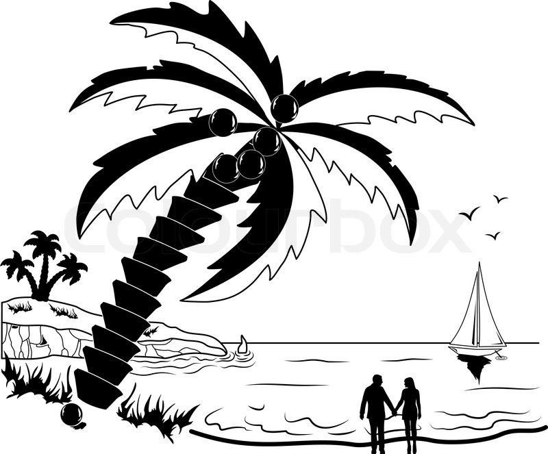 romantic couple at tropical beach with palm trees stock vector