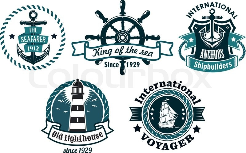Nautical Themed Vector Emblems Or Badges With Various Text Depicting