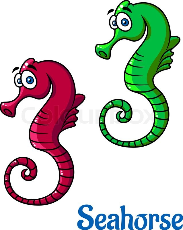 Cute little cartoon seahorses in red and green in side ...