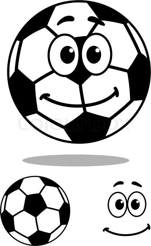 smiling black and white vector cartoon football or soccer ball