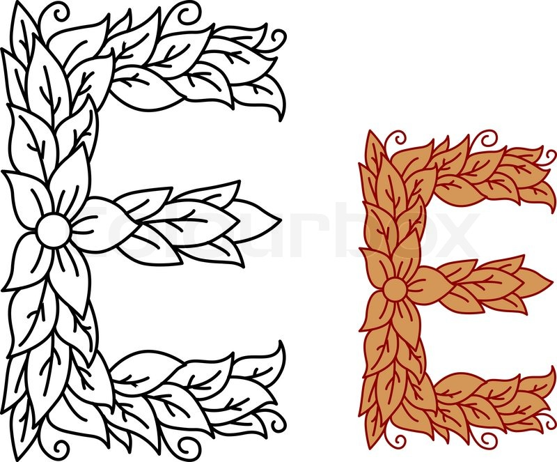 Uppercase letter E in a floral and foliate design with ...