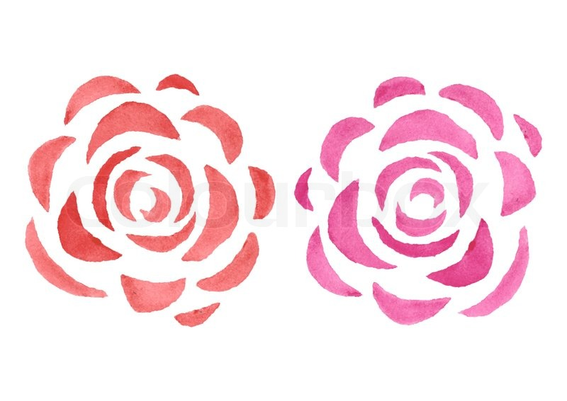 Stylized Watercolor Roses In Different Colors Vector