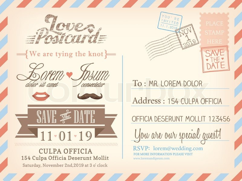 vintage airmail postcard background vector template for wedding invitation card stock vector colourbox