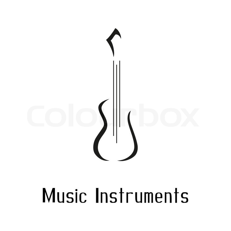Musical Instruments Store Logo With Guitar Vector Illustration Hand Drawing Text Shop Design Template