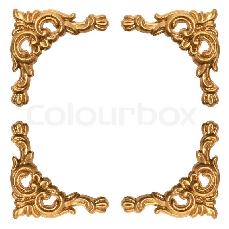 Golden elements of carved baroque frame isolated on white background ...
