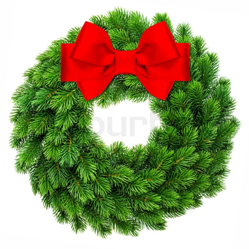 traditional christmas decoration evergreen wreath wit red