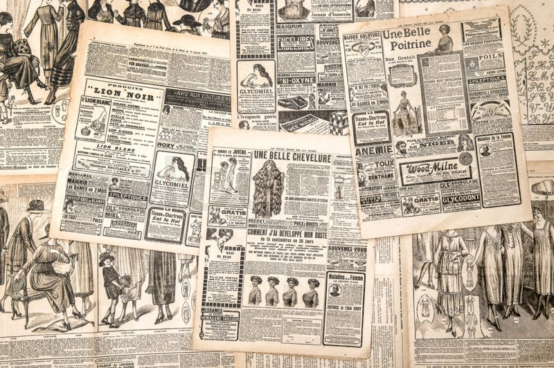 Antique Victorian Objects And Collectibles. Old Newspaper. Retro