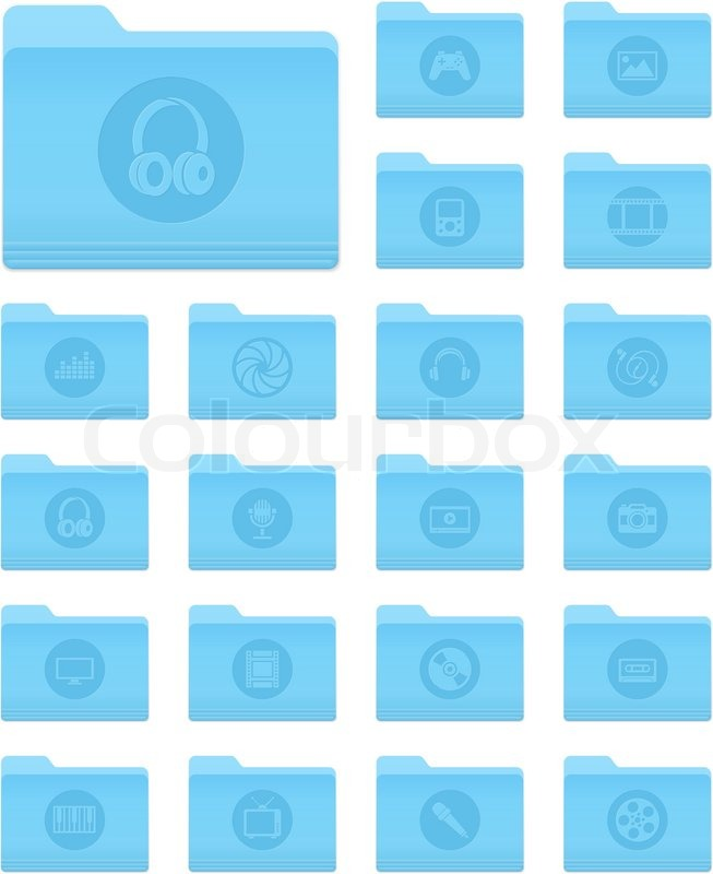 Set of 20 Folders Icons in OS X     | Stock vector | Colourbox