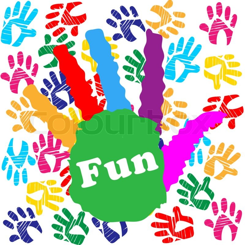 Kids Fun Indicating Colors Handprint And Positive, stock photo