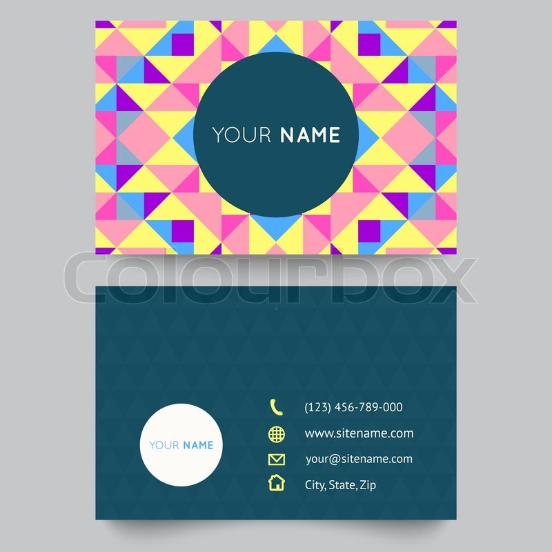 Business card template, abstract colorful geometric background ...