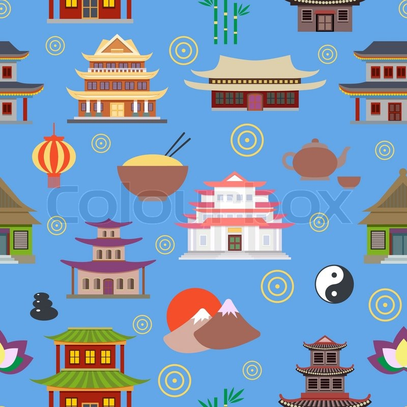 Chinese House And Traditional Culture Symbols Seamless Pattern