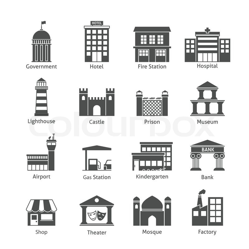 Government Building Icons Black Set Of Hotel Fire Station