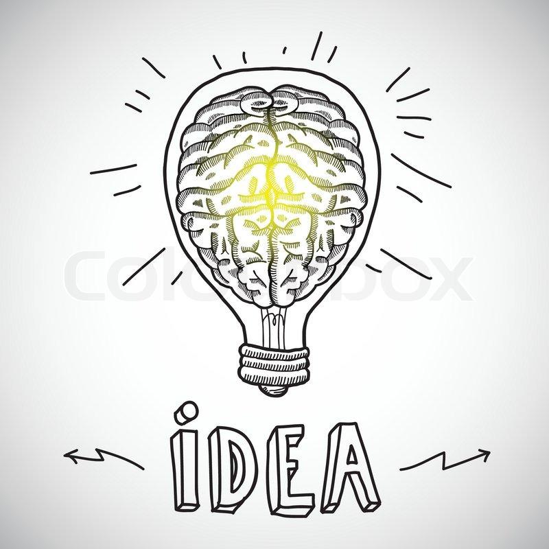 Superb Human Brain In Lightbulb Idea Concept Sketch Vector Illustration | Stock  Vector | Colourbox Nice Look