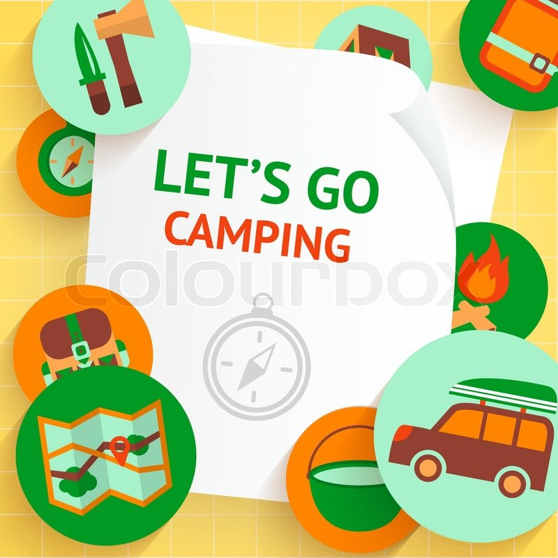 Camping adventure recreation outdoor travel elements background template vector illustration, vector