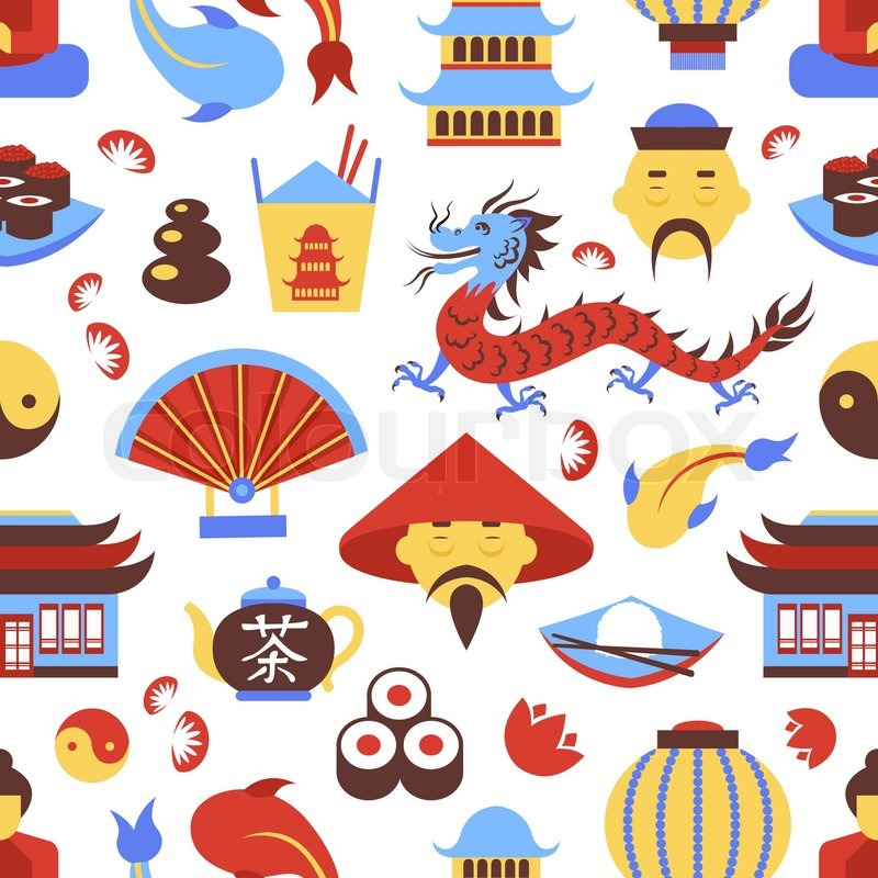 China Travel Chinese Traditional Culture Symbols Seamless Pattern