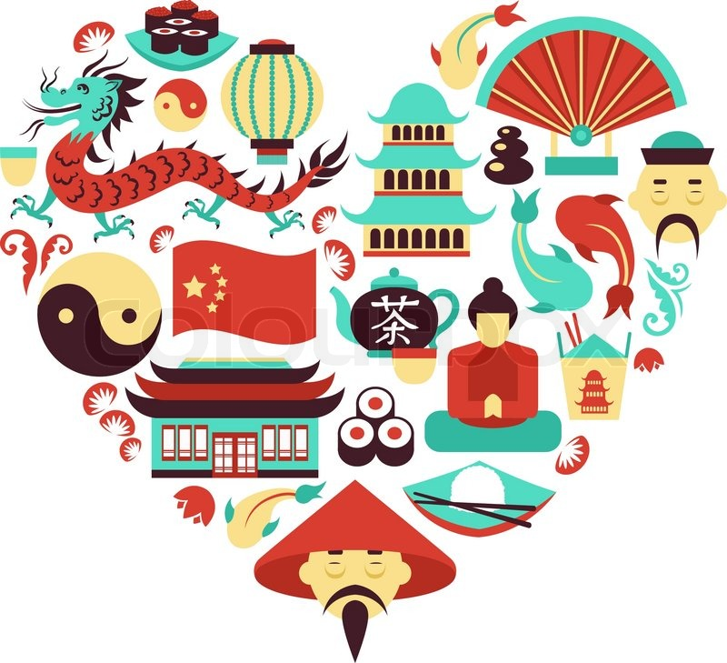 China Travel Asian Traditional Culture Symbols In Heart Shape Vector