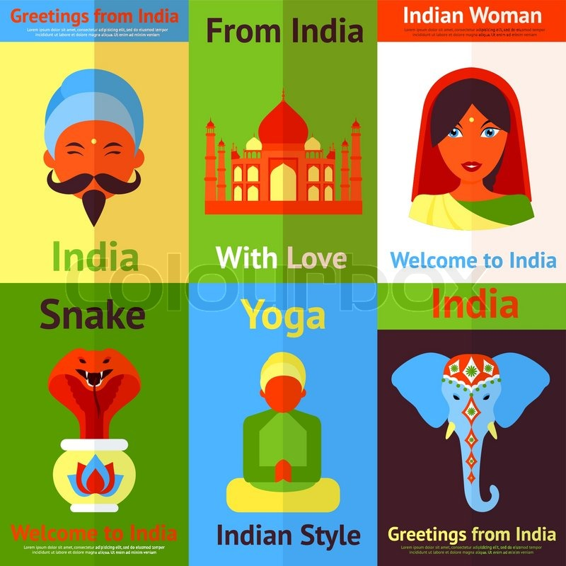 India Travel Culture Religion Yoga Symbols Mini Posters Isolated
