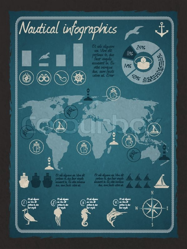 Nautical sea travel infographics set with world map and marine nautical sea travel infographics set with world map and marine design elements vector illustration vector gumiabroncs Images