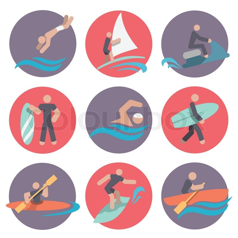 59eafbfb6e7 Water sports flat icons set with ...