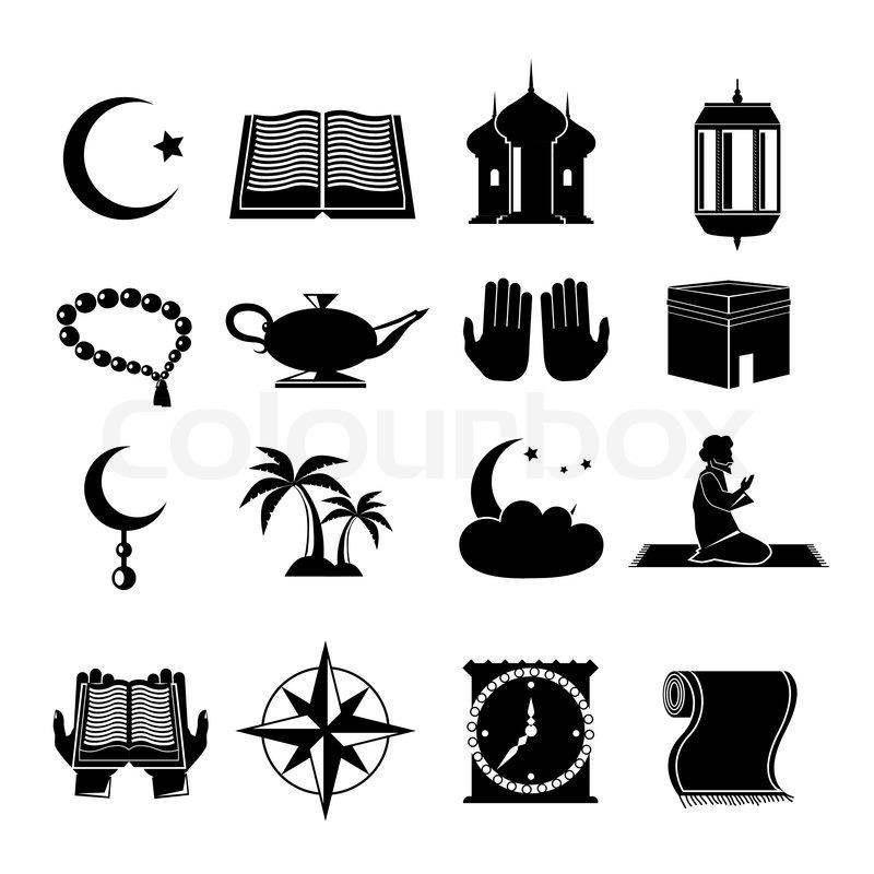 Islamic Church Muslim Spiritual Traditional Symbols Black Icons Set