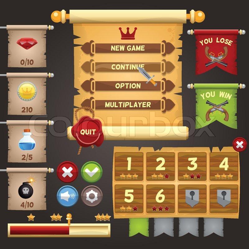 Arcade Game Menu Interface Design Template Vector Illustration - Game menu design