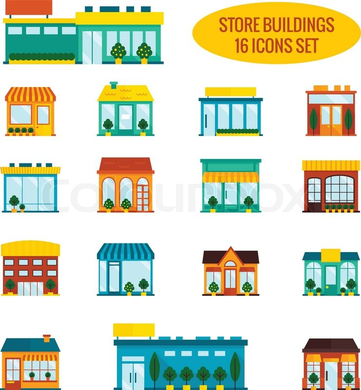 Store shop front window buildings icon set flat isolated for Store building design