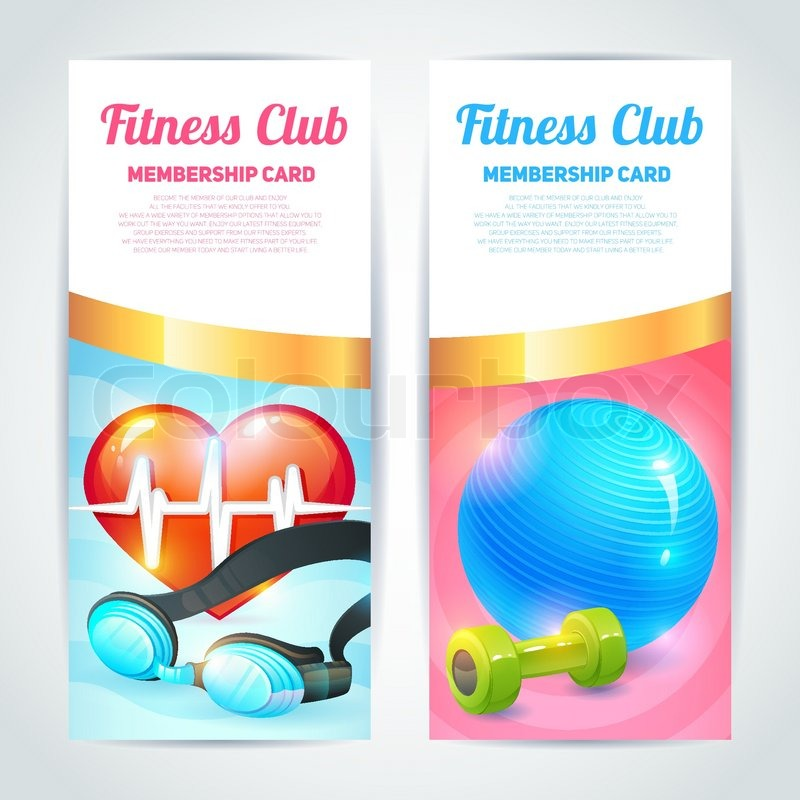 Fitness club membership card design vertical banners set isolated ...