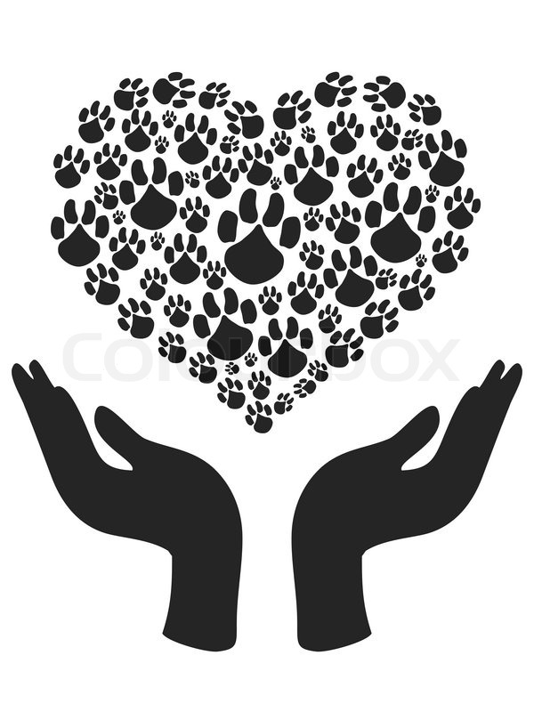 The Symbol Of Human Hands Holding Heart Shape Of Paw Stock Vector