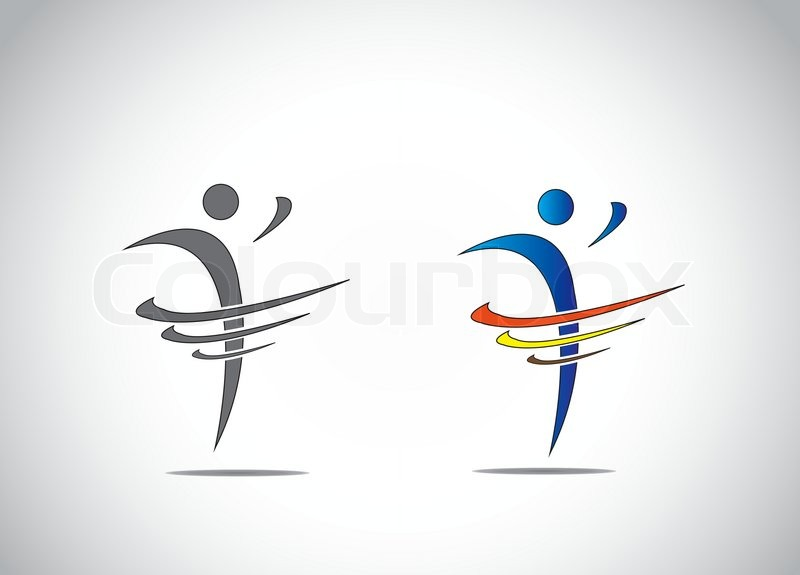 Abstract Icon Symbol Of A Person Dancing With Joy Fitness And