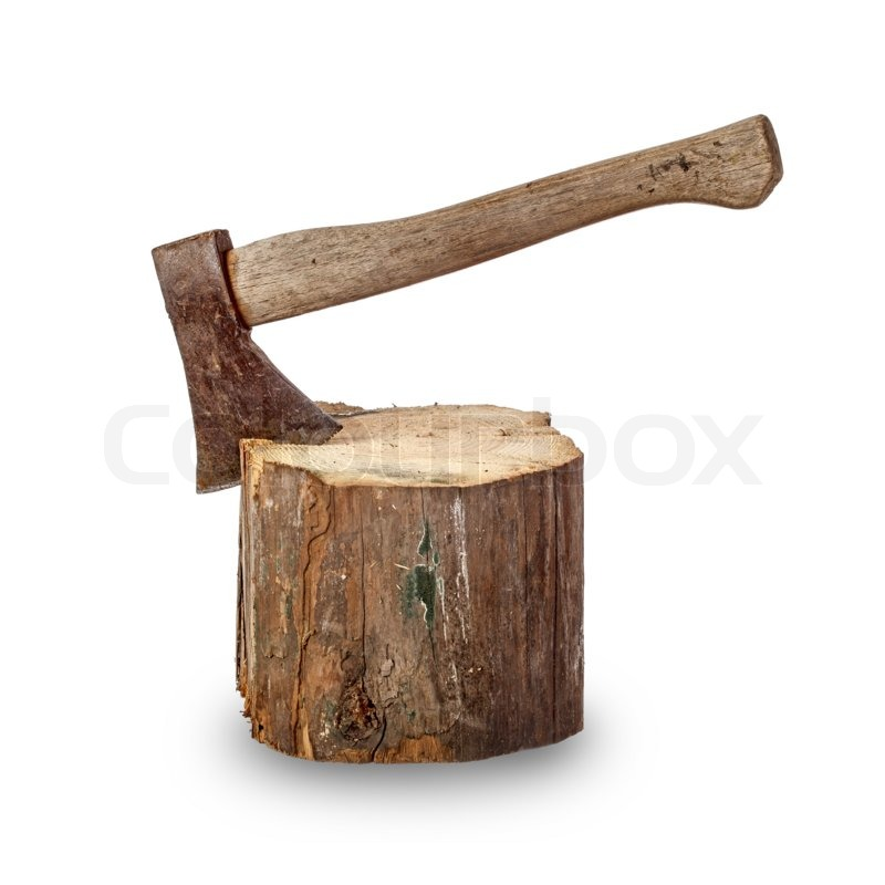 Stock image of 'Old axe stuck in log over white background'