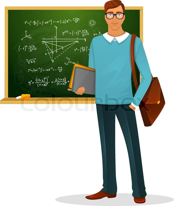 vector illustration of male teacher with blackboard