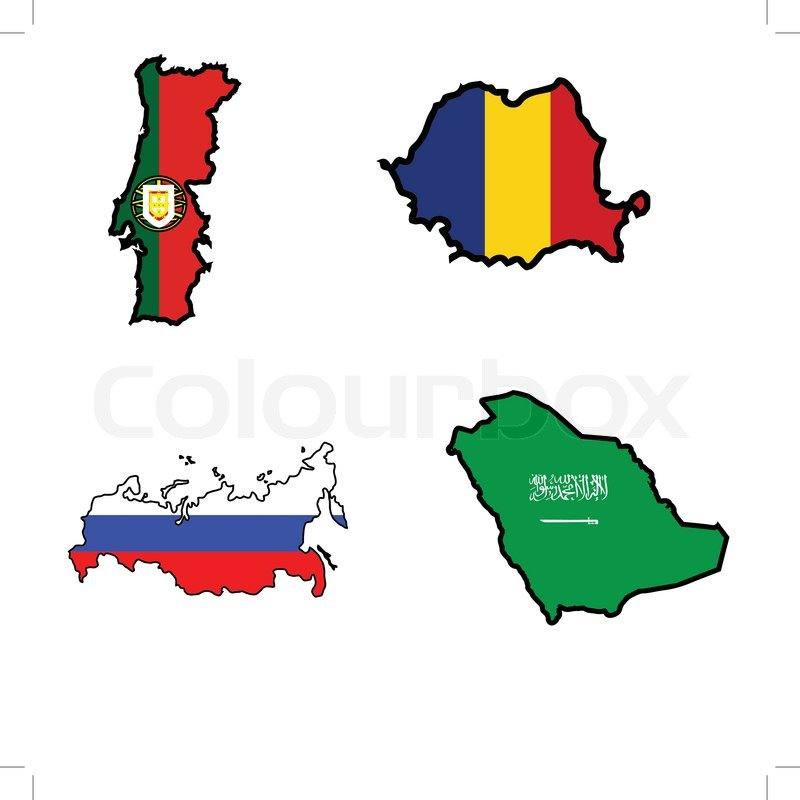 Illustration Of Flag In Map Of PortugalRomaniaRussiaSaudi - Portugal map flag