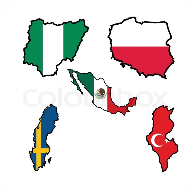 Illustration of flag in map of ... | Stock Vector | Colourbox