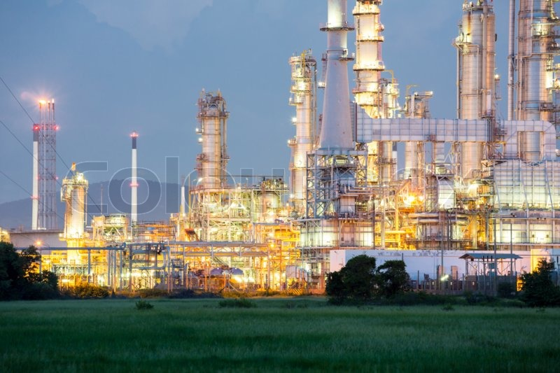 Oil Refinery Plant at dusk, stock photo