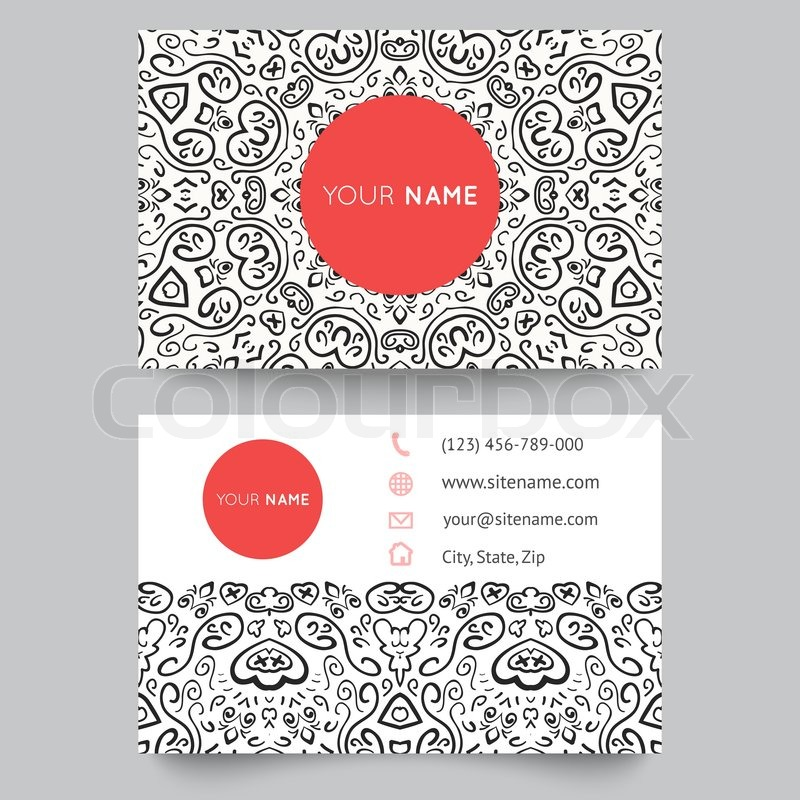 Business Card Template Black Red And White Beauty Fashion Pattern Vector Design Editable Illustration For Modern Beautiful Ornate