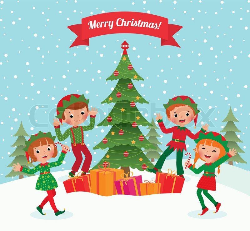 cartoon elves having fun at christmas party stock vector colourbox - Merry Christmas Elf