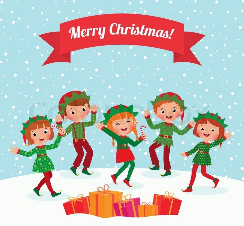 Christmas Children Party: A Few Children Celebrating Christmas Elf Costumes