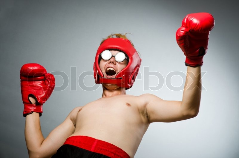 Funny nerd boxer in sport concept, stock photo