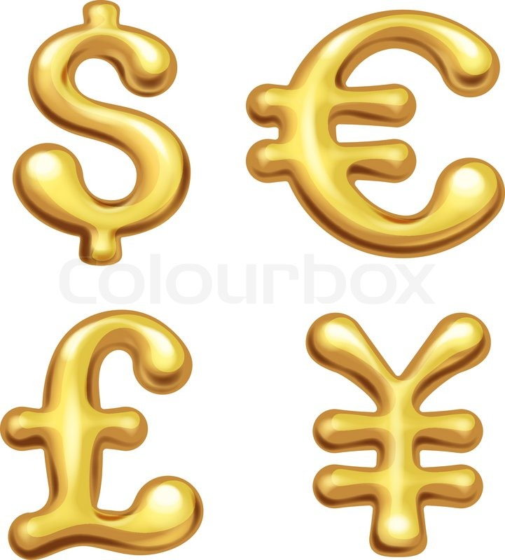 Four Shiny Gold Currency Symbols Eps10 Transparency Used Rgb