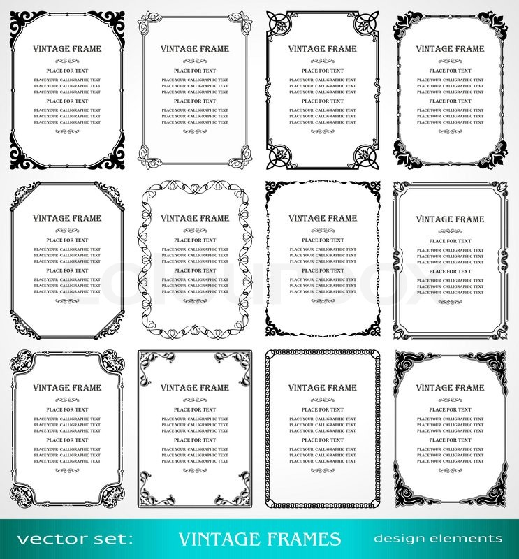 Vintage frames and borders set calligraphic victorian art stock vector of vintage frames and borders set calligraphic victorian art ornamental stopboris Choice Image